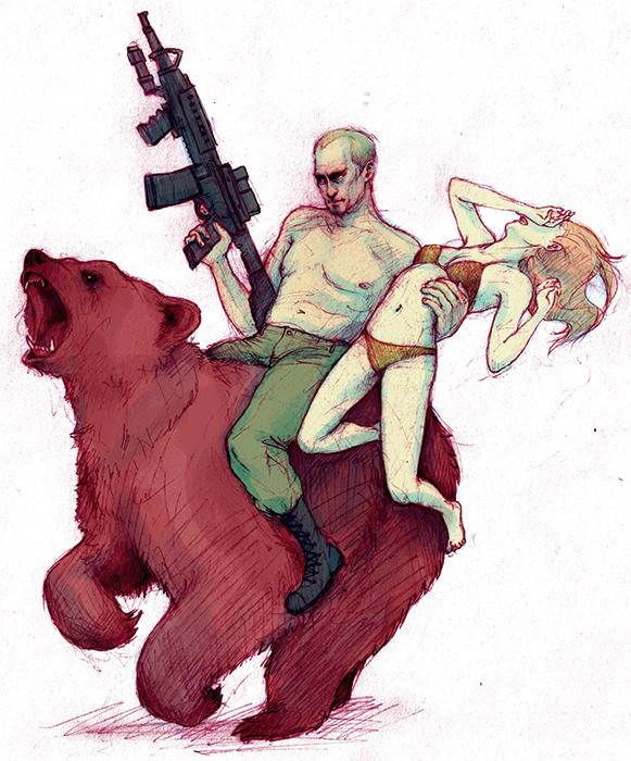 владимир путин на медведе обнаженный по пояс с автоматом в одной руке и алиной кабаевой в другой