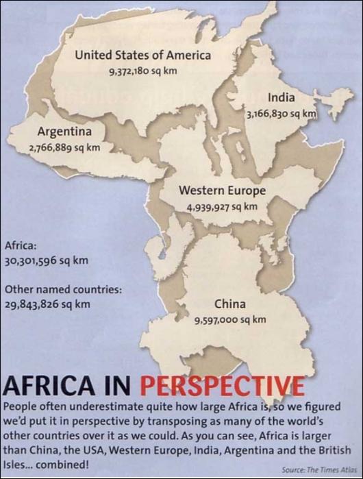 Африка гораздо больше, чем вы думаете
