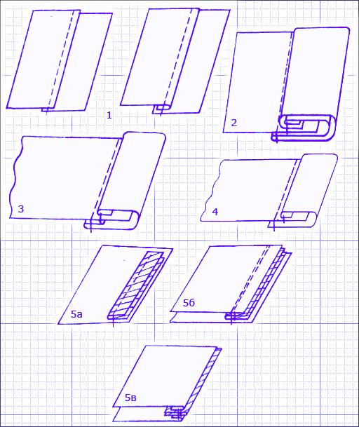 1 - накладной шов (слева - с