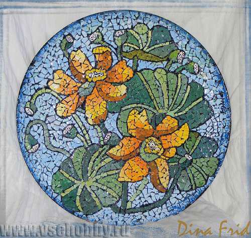 Лотосы, мозаика из яичной скорлупы