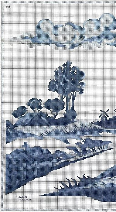 Схема вышивки крестом монохром пейзаж