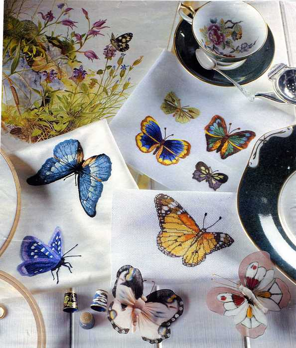 embroidered satin butterflies