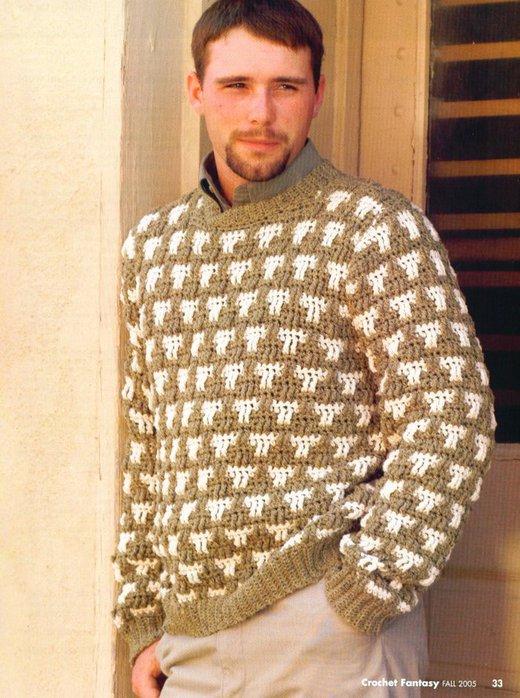 Мужской пуловер крючком