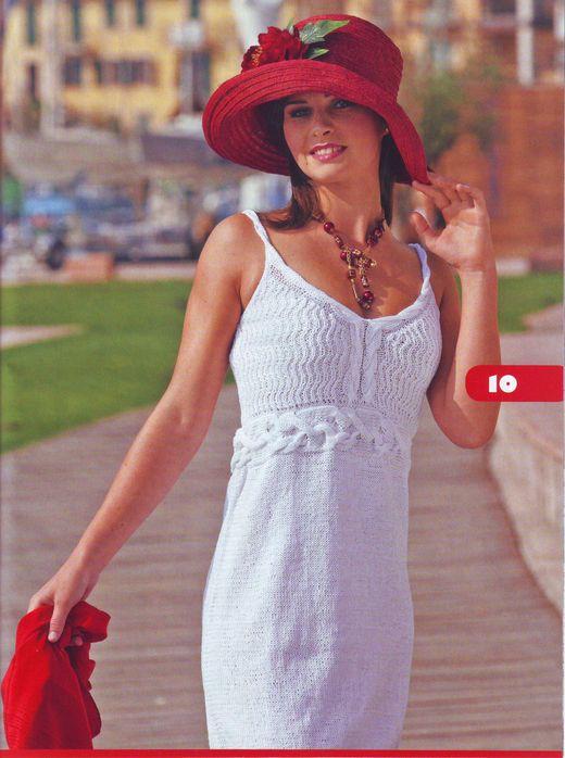 летнее платье спицами.