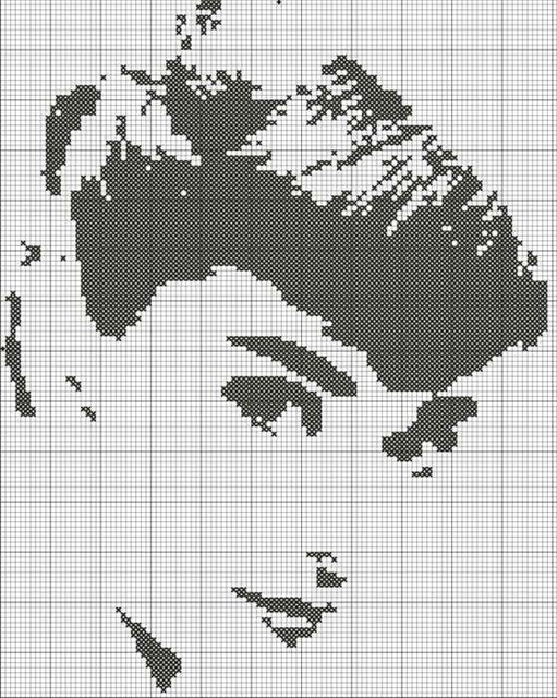 Одри Хепбёрн - схема вышивки