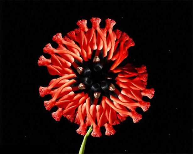 Креативные цветы из людей 14