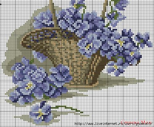 Корзина с цветами схемы вышивки крестом