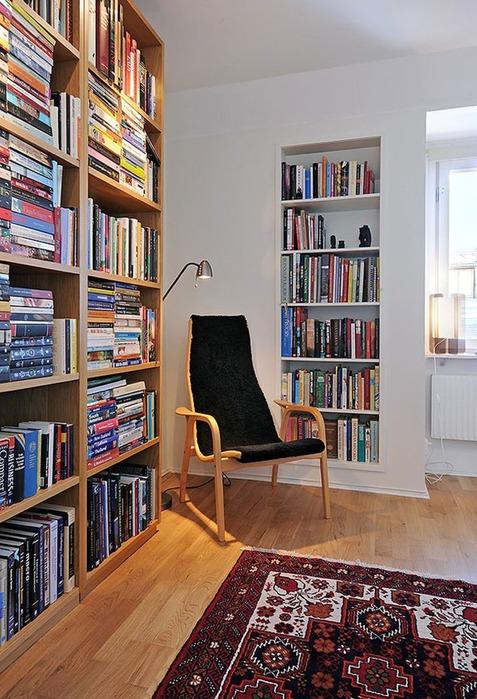 Оформление интерьера под место для чтения 20