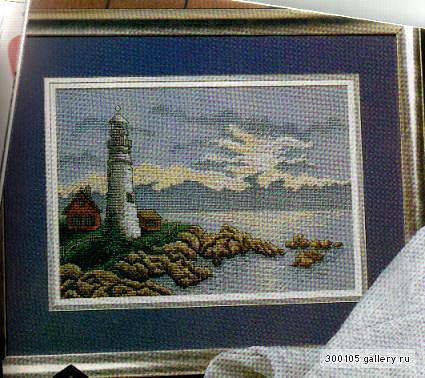 Морской пейзаж-Маяк (вышивка