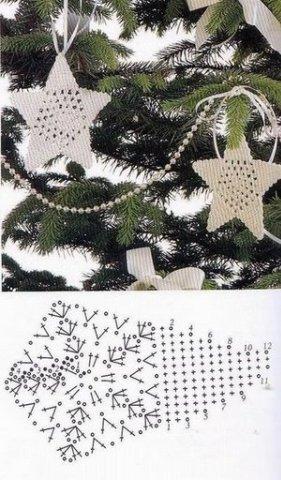 как связать звездочку на елку