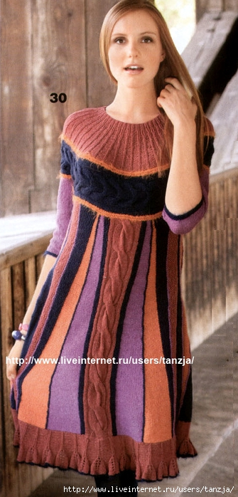 Вязаные платья из остатков пряжи