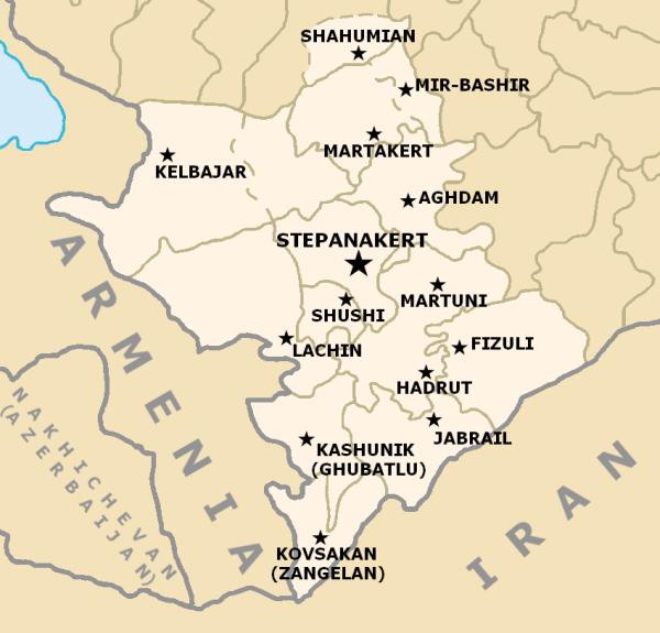 Карта Республики Арцах