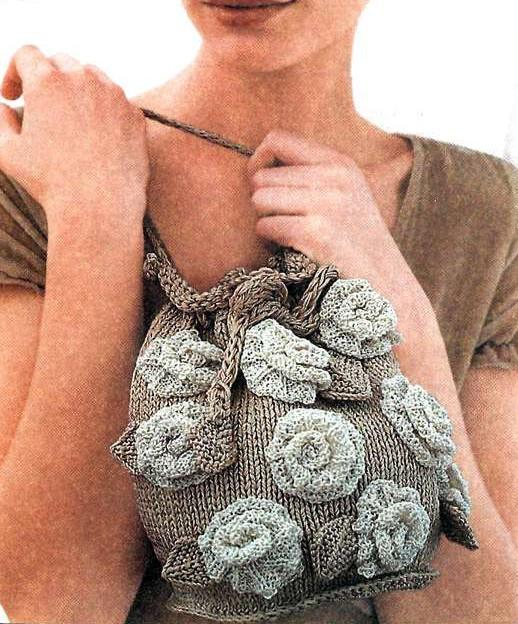 beautiful rose for bag and fashion: knitted handbag