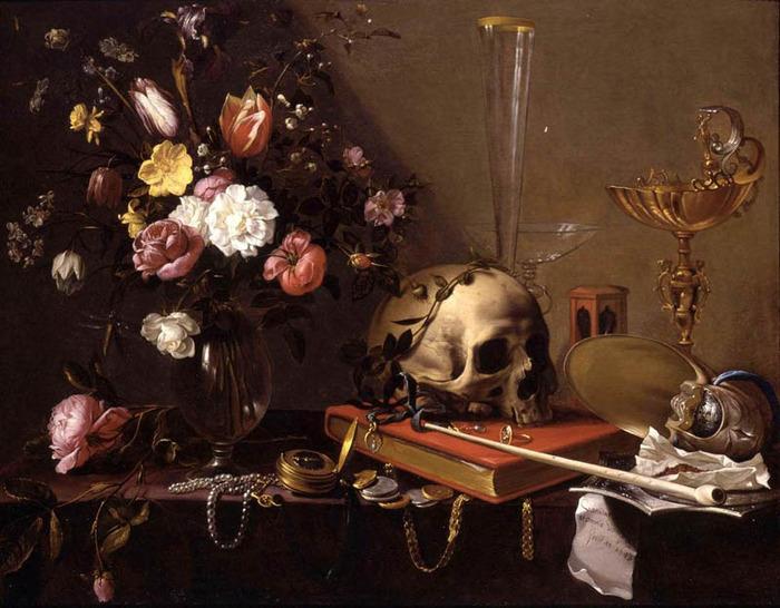 Адриан ван Утрехт. Натюрморт с букетом и черепом.