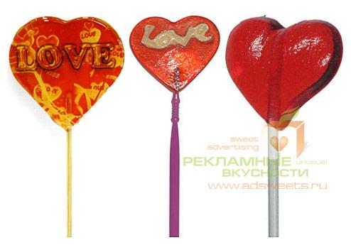 Леденцы на палочке - сердечки, подарки на Валентинов день