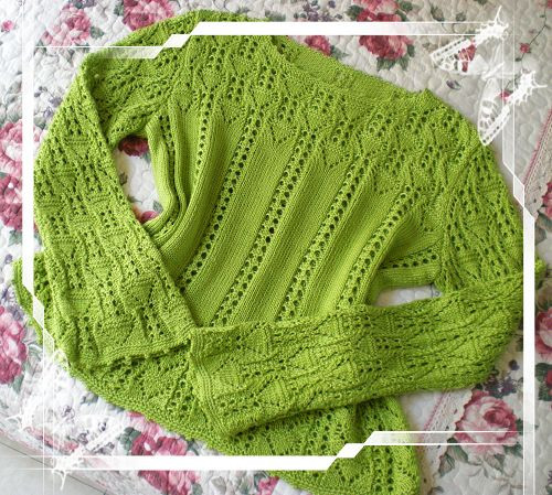 crafts for spring: green lace pullover, free knitting patterns