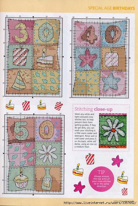Вышивка крестом открытки с днем рождения