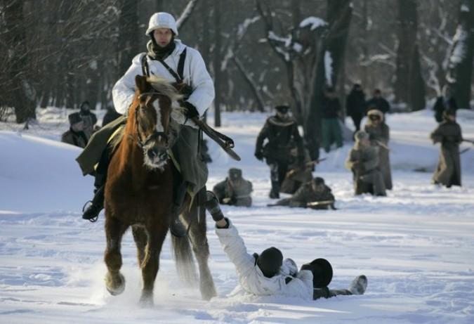 Солдаты русской армии прошли по Санкт-Петербургу, 23 февраля 2011 года.