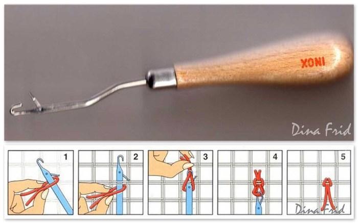 схему завязывания узелка.