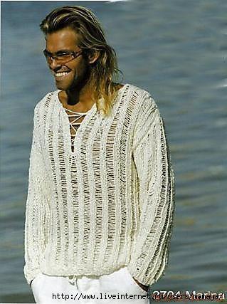 Мужской пуловер со спущенными