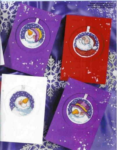 Схемы вышивки снеговиков.