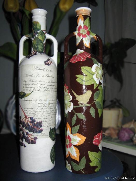 декупаж акрил бутылки подарочные