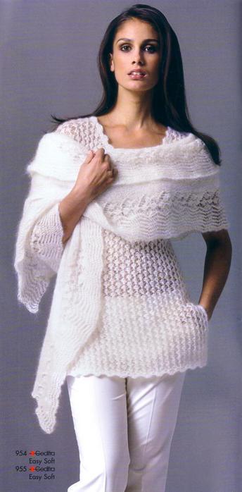 Белая туника,шарф