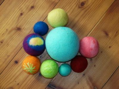 мячики войлочные, 100% шерстяные