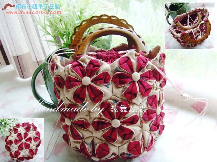 crafts for summer: flower purse, patchwork pattern, sewing pattern