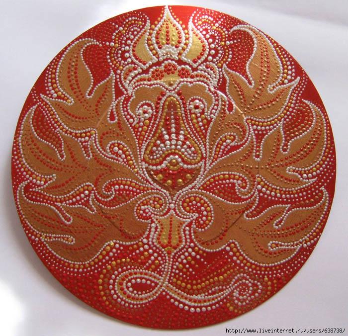 Красный цвеиок, роспись акрилом, Shraddha