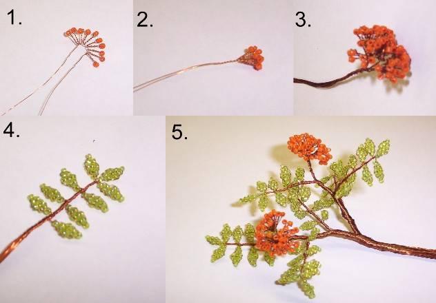 цветы из бисера и проволоки схемы.