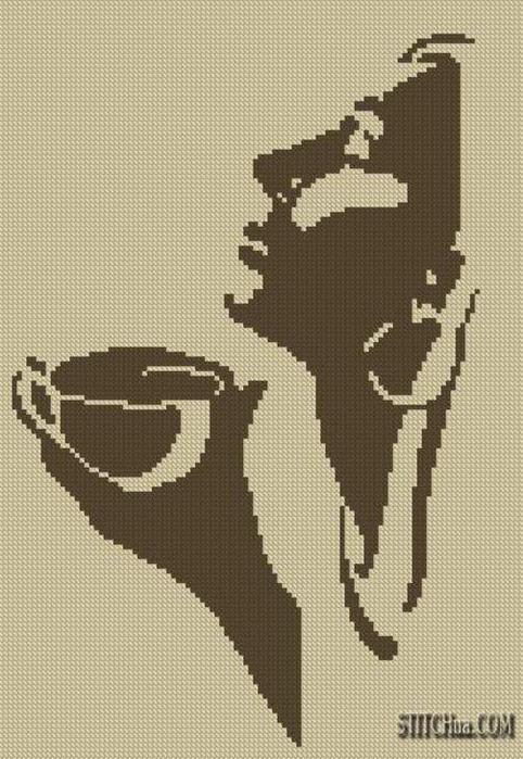 схемы вышивки для кухни кофе