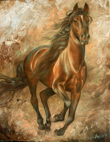 Артур Брагинский - Бегущая лошадь 90x70, холст, масло, 2009.