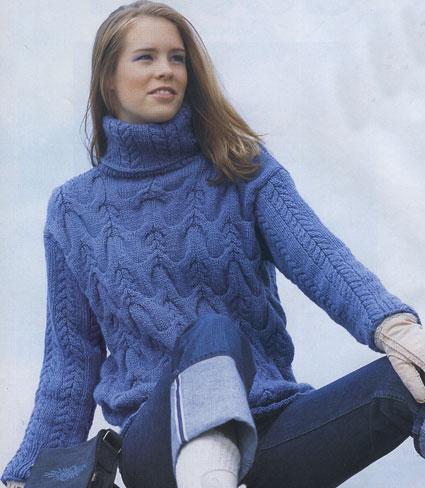 на спицах женских свитеров
