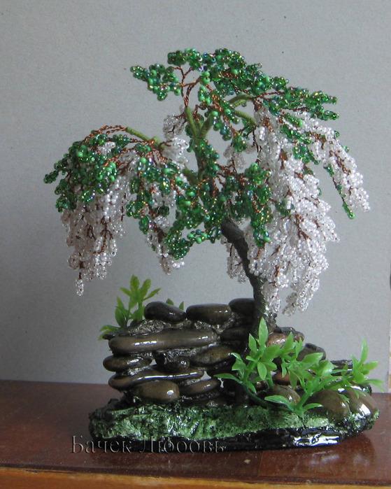 Глициния дерево из бисера
