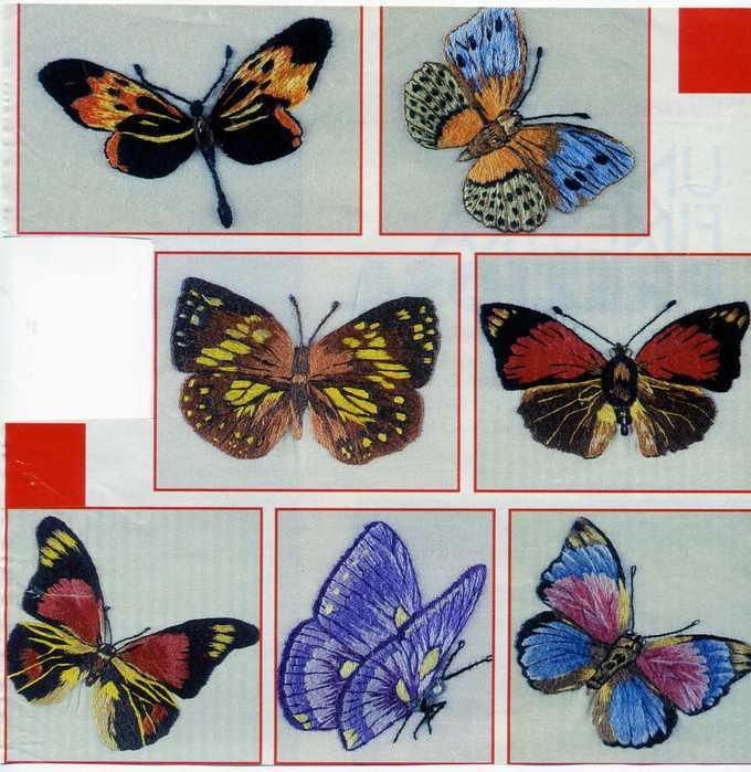 Бабочки для вышивки гладью картинки 55