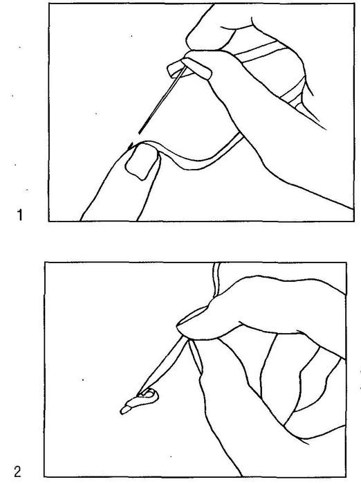 """Сначала проложите несколько прямых стежков шва  """"вперед иголку """" (1), затем протяните иглу на изнаночную."""