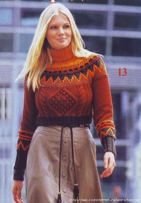 Вязание свитера с кокеткой с норвежским узором