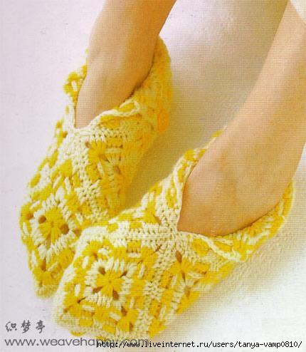 Вязание тапочек на двух спицах