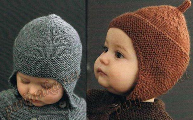 вязаные шапочки для новорожденных спицами.