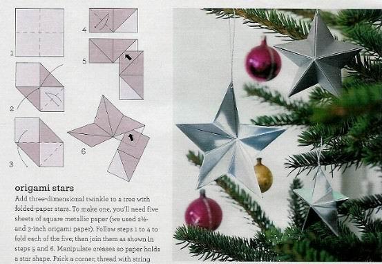 Новогодние игрушки из бумаги звезда