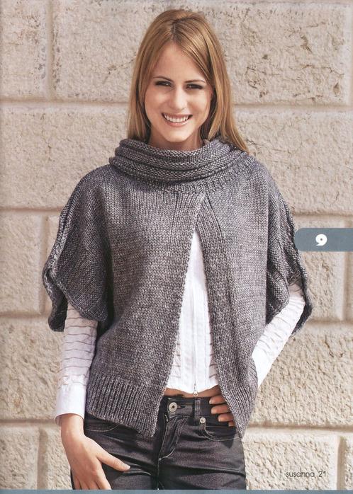 Для вязания пончо нам потребуется: 400г шерстяной пряжи серого цвета, спицы 4, 5.