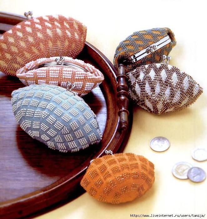 Сумочка и кошельки - вязание с биссером (крючок) .
