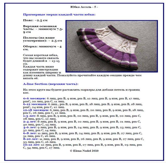 Вязание юбки на девочку 2 года с описаниями и схемами 36