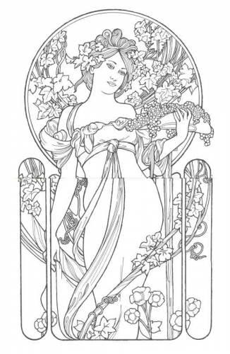 Free Art Nouveau Designs Coloring Pages