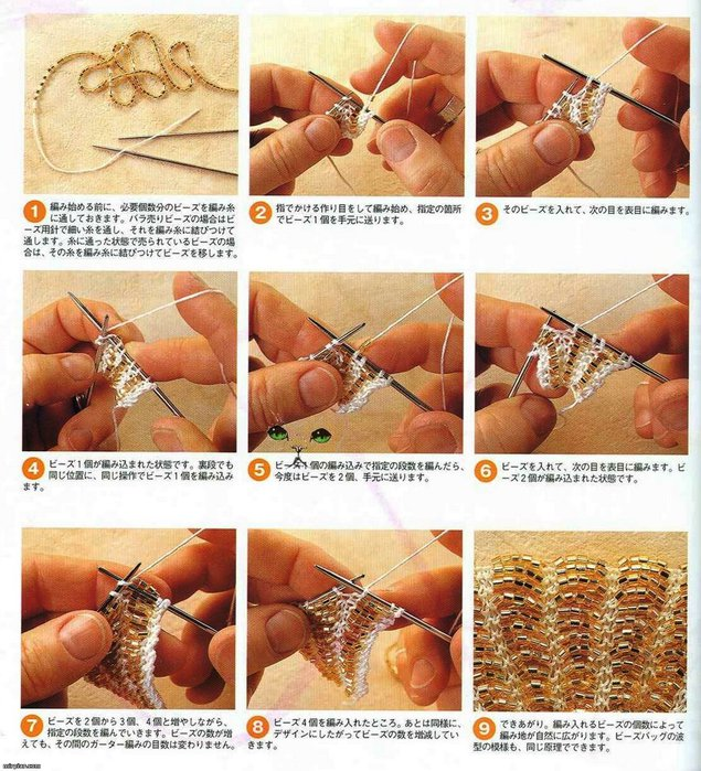 Вязание с бисером сумочек