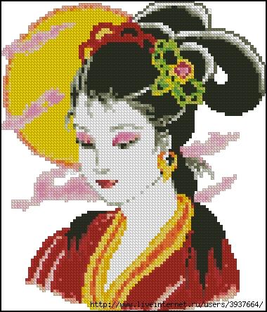 """Схема вышивки  """"Японка """": таблица цветов."""
