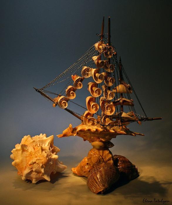 Поделки кораблики из ракушек 21