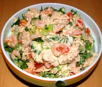Салат из креветок с помидорами и огурцами рецепты