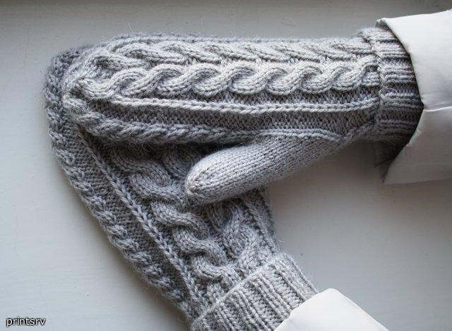 вязание рукавиц спицами.